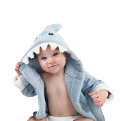 Baby Classic Blue Shark Hooded Bathrobe and Towel, 0-12 Months, Bath Robe Baby Shower Gift