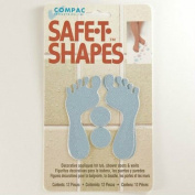 Safe-t-shapes Blue Feet Safety Applique - Bath Tub Shower Sticker Decal No Slip