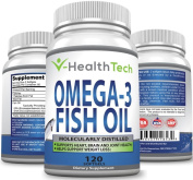 Pure Omega-3 Fish Oil - 120 Softgels - 2 000 mg Molecularly Distilled and Purified Fish Oil (600 mg DHA + 800 mg EPA per serving) - Pharmaceutical Grade - Wild Caught Fish - VHealthTech