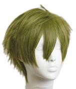 Xcoser Free Makoto Cosplay Flaxen Green Short Anime Costume Wig