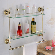 Leyden Wall Mount Bathroom TI-PVD Gold Finish Brass Material Double Layer Glass Shelf With Towel Bars