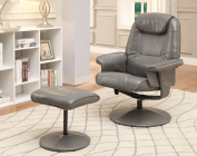 Furniture of America Hartford Leatherette Swivel Lounger with Ottoman, Grey