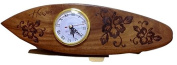 Koa Wooden surfboard Clock Hand Carved Hibiscus Design.