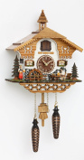 Quartz Cuckoo Clock Black Forest house with moving beer drinker and mill wheel, with music, incl. batteries TU 4214 QM