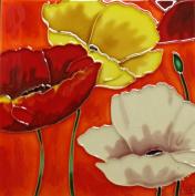 Continental Art Centre BD-0309 20cm by 20cm Three Poppy Flowers with Orange Background Ceramic Art Tile