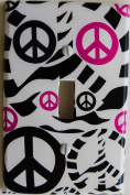 Hot Pink Zebra Print Peace Sign Light Switch Plate Covers in Pink and Black