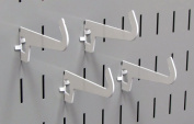 Wall Control 10-HZ-103 W Pegboard 7.6cm - 1.3cm Reach Curved Tip Slotted Hook Pack Slotted Metal Hooks for Wall Control Pegboard Only, White