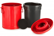 Chef's Star 2 in 1 Carbon Steel Premium Compost Bin with Plastic Inner Pail - 1.9l - Red