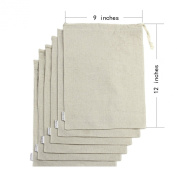Augbunny Cotton/Linen Blend 9- by 30cm Muslin Produce Bags with Drawstring, 6-Pack