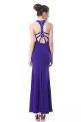 Backless Rhinestone Sheath Dress - Purple size 12