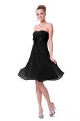 Strapless Chiffon Cocktail Dress - Black size 18
