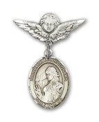 ReligiousObsession's Sterling Silver Baby Badge with St. Finnian of Clonard Charm and Angel with Wings Badge Pin