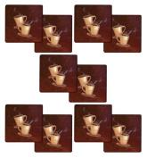 Set of 10 Hallmark Coffee Design from Range Kleen, 18cm x 18cm Trivets