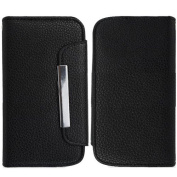 Black Pouch Wallet Case Cover For for Samsung Galaxy i8190 S 3 III Mini