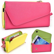 Neon Pink and Yellow Crossbody Case for LG G4 Pro Dual SIM LTE, Flex, G Pro 2 D830 D838 F350K F350L F350S Smartphone Phablet