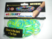 Rubbzy Aqua Blue and Lime Green Glow in the Dark 100 Loose Rubber Bands