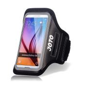 Samsung Galaxy S6 / S6 Edge Armband, JOTO Sport Armband Case for Samsung Galaxy S6 / S6 Edge, with Key Holder, Credit Card / Money Holder, Sweat Proof, best for Gym, Sports Fitness, Running , Exercise , Workout [ Galaxy S6 / S6 Edge Sport Armband ] (Bl ..