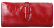QISHI YUHUA Womens Long Style Red Genuine Leather Wallets
