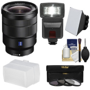 Sony Alpha E-Mount Vario-Tessar T* FE 16-35mm f/4.0 ZA OSS Zoom Lens with Flash & Soft Box + Diffuser + 3 Filters + Kit for A7 II, A7R, A7S Cameras