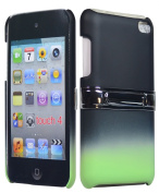 BasTexWireless Bastex Hard Rubberized Two Tone Fade Case with Chrome Kickstand for Apple iPod Touch 4, 4th Generation (8GB 16GB 32GB) - Black & Mint Teal Green