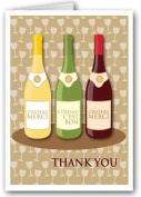 Wine Bottle Thank You Note Card - 10 Boxed Cards & Envelopes