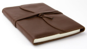 Red Co Classic Soft Genuine Leather Journal, 13cm x 18cm , 240 Lined Pages, Refillable, Dark Brown