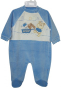 Baby Boys All in One Velour Sleep Suit, N/B - 6 Months, Pale Blue and Cream