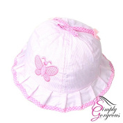 Cute Baby Girls Toddlers Stripes & Butterflies Summer Sun Hat Bonnet Embroidered Age 3- 24 Months - Pink