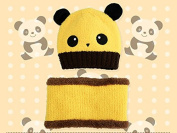 Children Baby Cartoon Lovely Christmas Winter Panda Warm Knit Hat Hedging Cap Beanies Hat Scarf Kit