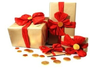 Luxury Red Bow and Chocolate Coins Beauty & Bath Towel Hamper all individually Gift Wrapped