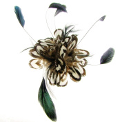 Chantal Feather Cluster Fascinator on Comb Black/White