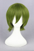 32cm Green Short Straight Clip On Ponytails Cosplay Wig+Wig Cap For Kuroko No Basketball