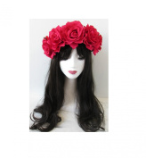 Large Hot Pink Rose Flower Headband Garland Vintage Festival Boho Hair Crown Q42 *EXCLUSIVELY SOLD BY STARCROSSED BEAUTY*