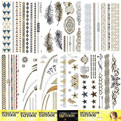 10 Leaf Metallic Tattoos for the Skin Flash tattoos Gold Silver Tattoo Fashion jewellery Party jewellery Bracelet Bangle Body jewellery