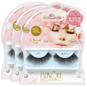 Blinque 100% Human Hair False Eyelashes 3 Pairs, Style #80