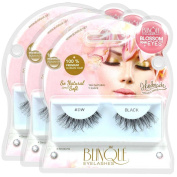Blinque 100% Human Hair False Eyelashes 3 Pairs, Colour# DW.