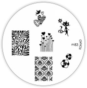 KONAD M83 Stamping Stencil, Metal, Reusable, with Beautiful Stamp Designs