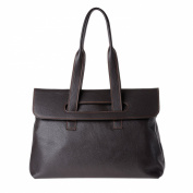 Women's leather tote bag large size with double handles DUDU Dark Brown