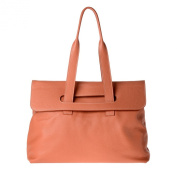 Women's leather tote bag large size with double handles DUDU Orange