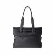 Women's leather tote bag medium size double handles DUDU Black