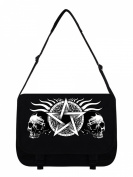 Skull Pentagram Messenger Bag Black 38x33x11cm