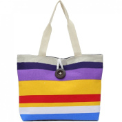 LeBen Women Ladies Canvas Striped Summer Holiday Tote Shopping Handbags Satchel Shoulder Bags