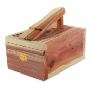 Hangerworld Premium Quality Aromatic Cedar Wood Shoe Shine Box with Foot Rest