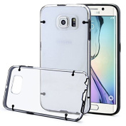 Clear PC and TPU Gel Silicone Bumper Case Cover For Samsung Galaxy S6 Edge + Screen Protector
