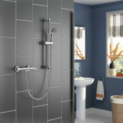 Chrome Thermostatic Bar Mixer Shower Set Modern Bathroom Valve + Handheld Head SP4008