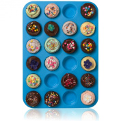 Joyoldelf Large Mini Muffin Pans - 24 Cup Jumbo Silicone Pan for Cupcakes and Premium Baking - Non Stick Tray / Bakeware - Silicon Mould, Heat Resistant up to 450°F - Dishwasher and Microwave Safe - Blue