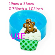 223LBG Gingerbread Man Cupcake Fondant Silicone Mould 26mm - Cupcake Decoration Bakeware Mould, Polymer Clay Moulds Fimo Mould