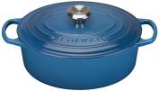 Le Creuset Signature Cast Iron Oval Casserole, 29 cm - Marseille Blue