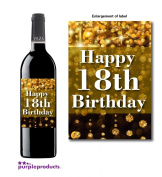 Gold Dust Theme Happy 18th Birthday Wine bottle label Celebration Gift for Women and Men.