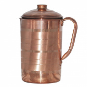 Pure Copper Jug Water Pitcher with Lid Drinkware for Ayurvedic Health Benefits